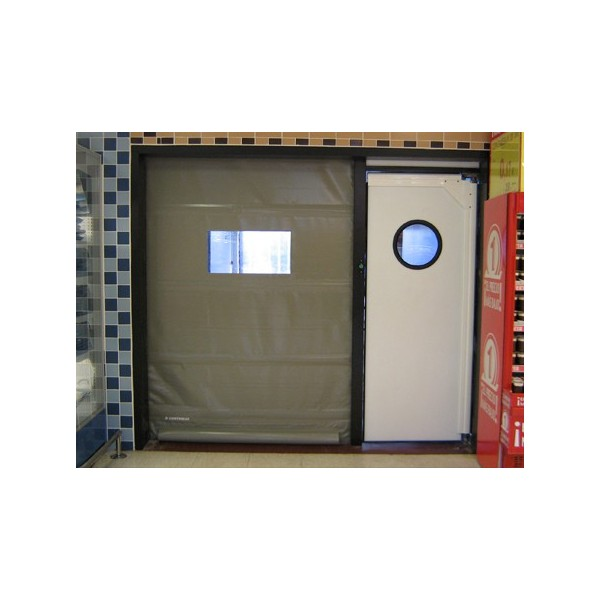 Conjunto puerta rápida autorreparable y batiente